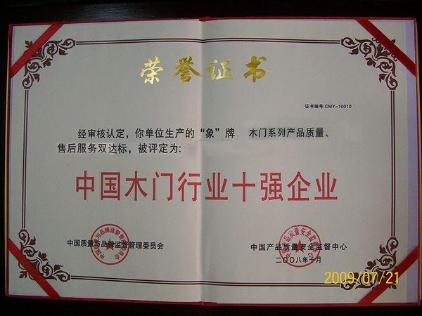 中国木门行业十强企业