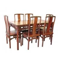 新款紅木餐桌 餐桌餐椅 長方形飯桌七件套