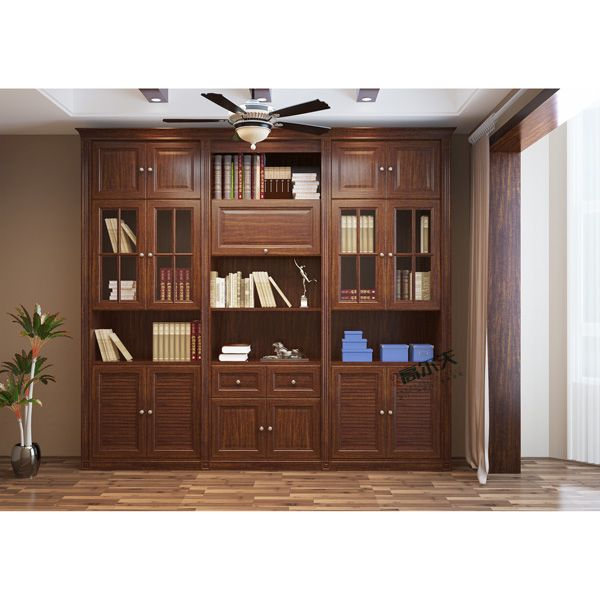 同色包覆平开衣柜门-印象高尔夫门业-挪威影橡平开门书柜