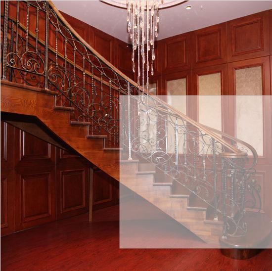 欧式水曲柳铁艺弧形楼梯