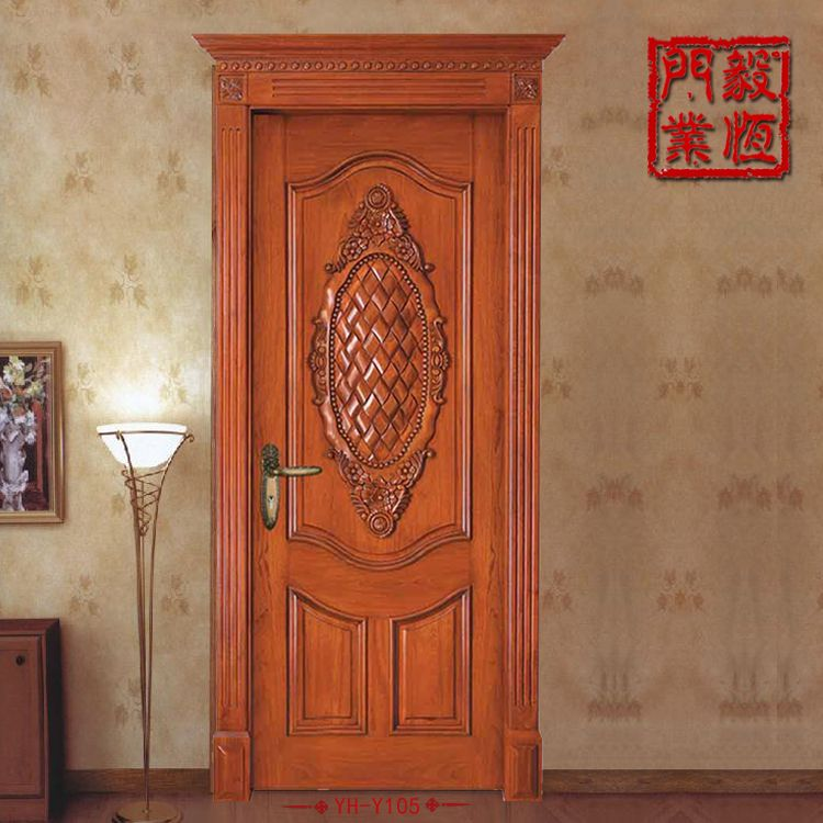 高端定制歐式雕花原木門,實木房間門,100%原木