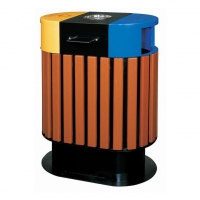 钢木分类垃圾桶,楼盘分类垃圾箱,园林式垃圾桶