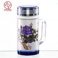 景德镇陶瓷茶杯 带密封盖的陶瓷水杯批发