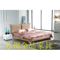 实木布艺床