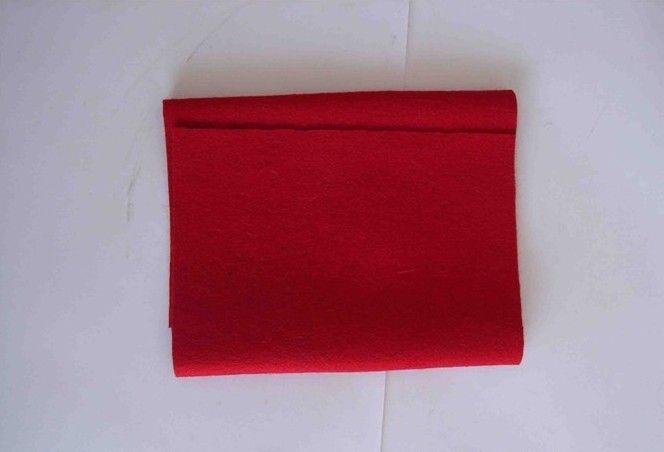 用红布缝桃心图解