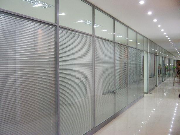 双层玻璃隔断 百叶办公隔断 百叶玻璃隔断