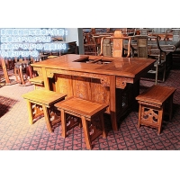 刺猬紫檀将军茶桌6件套