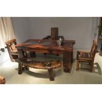 船木家具 船木弯凳茶台套装 船木茶几 船木茶桌 电磁炉款