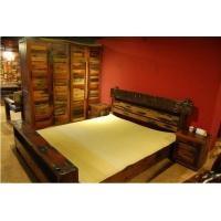 船木家具 船木卧室套装 船木床 衣柜 梳妆台 卧室柜边柜