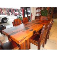 百年古船木田园风格餐桌 老船木1号餐台餐椅组合老船木餐桌