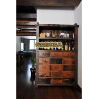 百年老船木多层多多抽玻璃书柜古船木文件柜 沉船木柜子