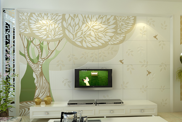 瓷砖彩雕艺术背景墙   艺术陶瓷