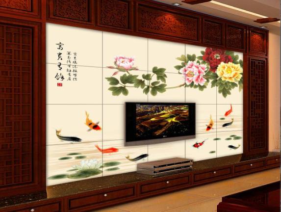 艺术陶瓷   瓷砖彩雕背景墙     陶瓷精雕加幻彩背景墙
