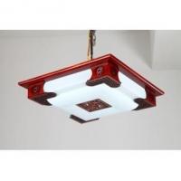 长款二层木艺吸顶灯 智能LED木质卧室书房客厅灯饰