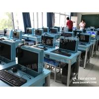 液晶屏翻转电脑桌 电教室培训桌多媒体升降电脑桌厂家供货