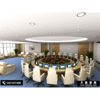 多媒体液晶翻转升降会议桌多功能视频会议桌