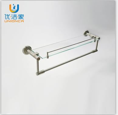 优洁家太空铝浴室五金挂件 卫生间玻璃置物架化妆架定制