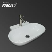 厂家热销 浴室洁具家居酒店挂墙欧式一体椭圆方形陶瓷台上洗手盆