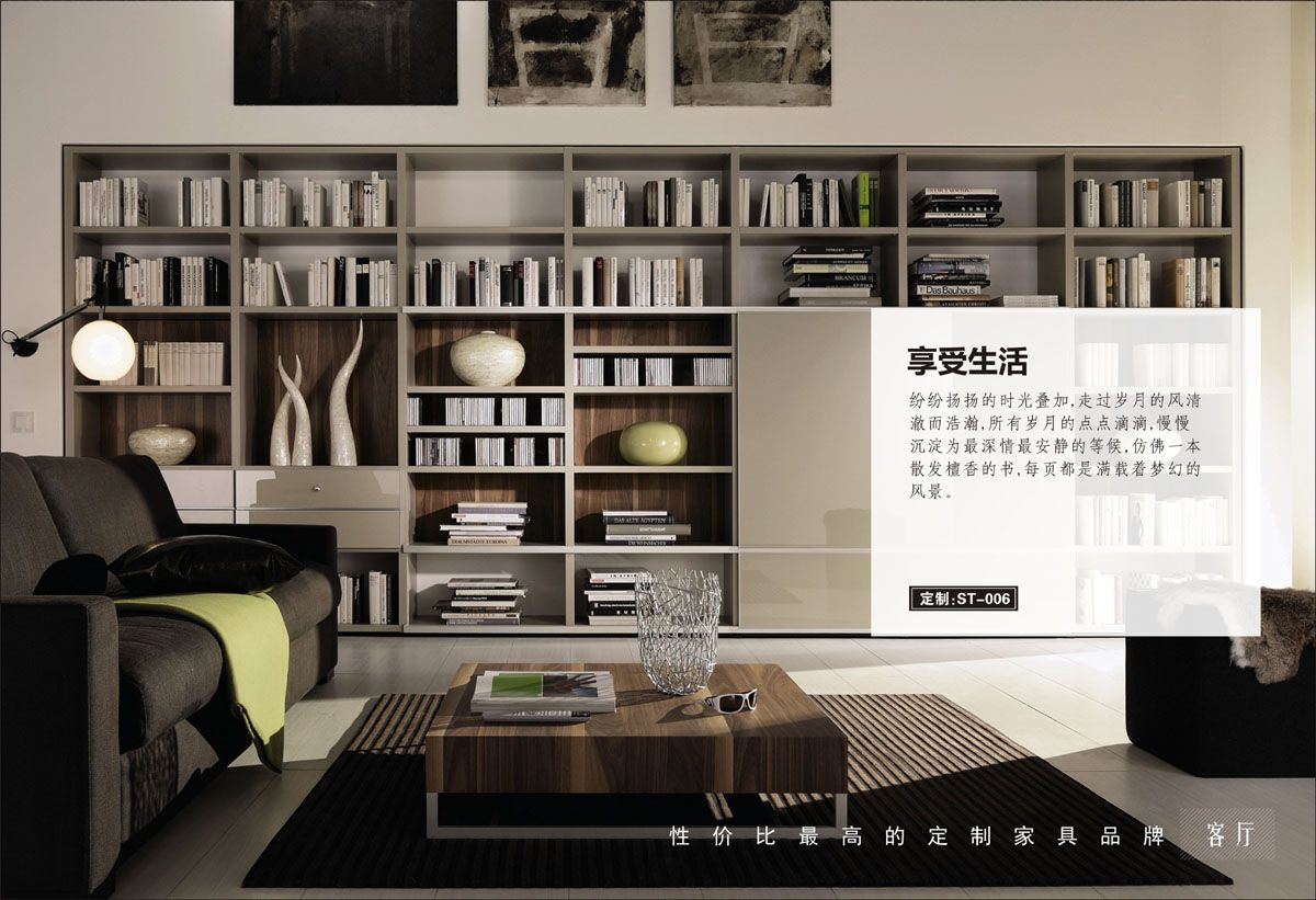 客厅简约风格书柜效果图