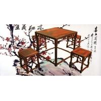 红酸枝木茶桌书房休闲古典中式方桌 山东王义红木家具
