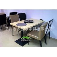 深圳多多乐家具热卖餐厅火锅台 不锈钢大理石桌面餐台