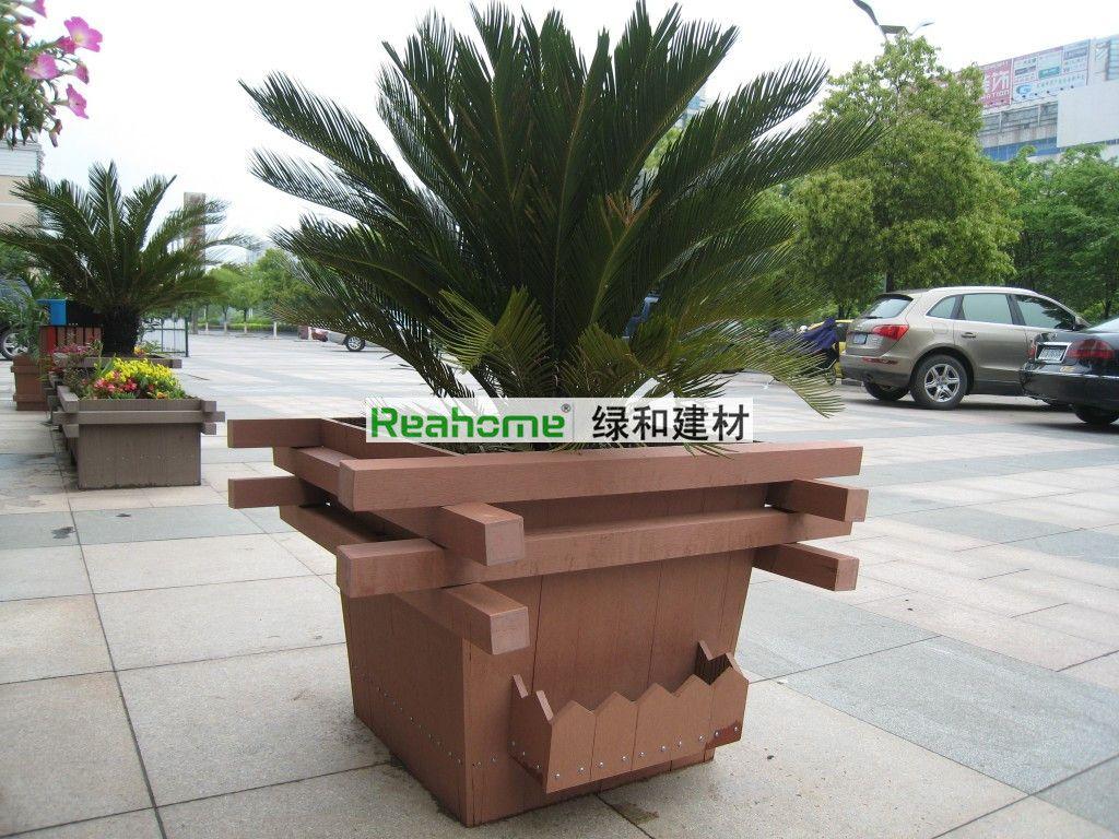 杭州户外花箱 木塑花箱 塑木花箱供应