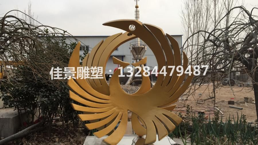 不锈钢雕塑凤凰 金凤凰不锈钢 金鸡不锈钢