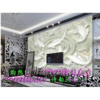 天然玉石3D浮雕荷花图电视背景墙