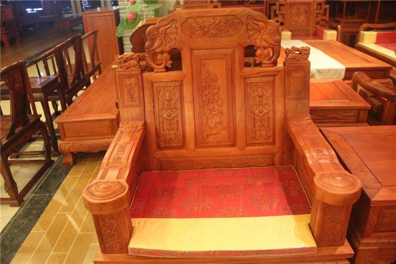 红木福禄寿沙发组合中式明清古典花梨木象头雕刻实木