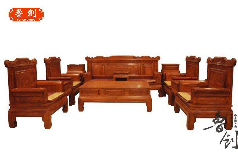 东阳红木家具缅甸花梨沙发客厅 花梨木沙发喜庆满堂沙发