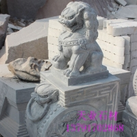 青石雕刻 雕刻石狮子 可加工定制各种规格石材雕刻制品
