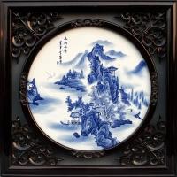厂家定制手绘陶瓷瓷板画 屏风板画 青花粉彩瓷板画 装饰壁画
