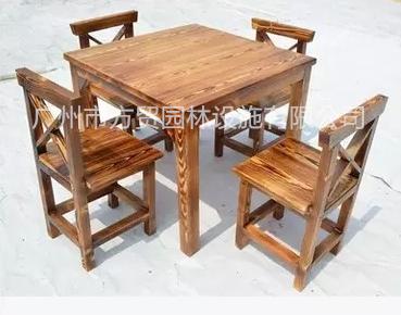 酒店欧式简约碳化木桌椅,餐厅大排档炭烧木餐椅