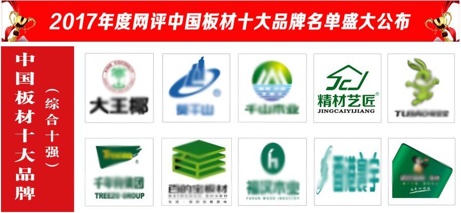 精材艺匠当选2017中国板材十大品牌(综合十强)