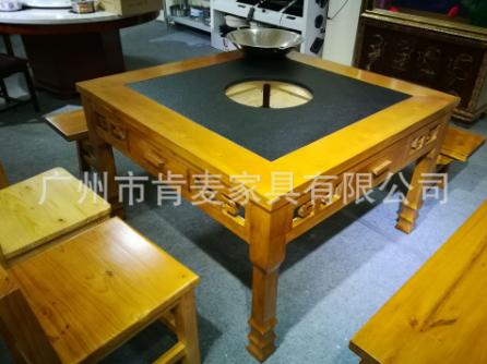 老火锅桌椅四人位大理石火锅桌/人造大理石火锅桌