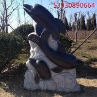 石雕海豚 公园景观动物石雕 鲤鱼青石海豚鱼厂家