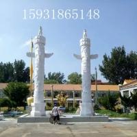 园林景观设计汉白玉石雕华表 盘龙柱 寺庙广场雕塑