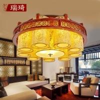 中式吸顶灯木艺布罩缕空羊皮灯居家卧室客厅餐厅灯