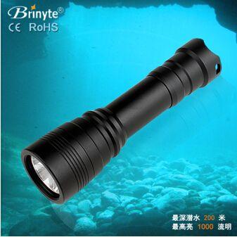 爆款专业潜水手电Brinyte DIV11 可深潜150米尾