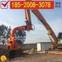 挖掘机改装打钢板桩机,钢板桩机,打拔9米钢板桩