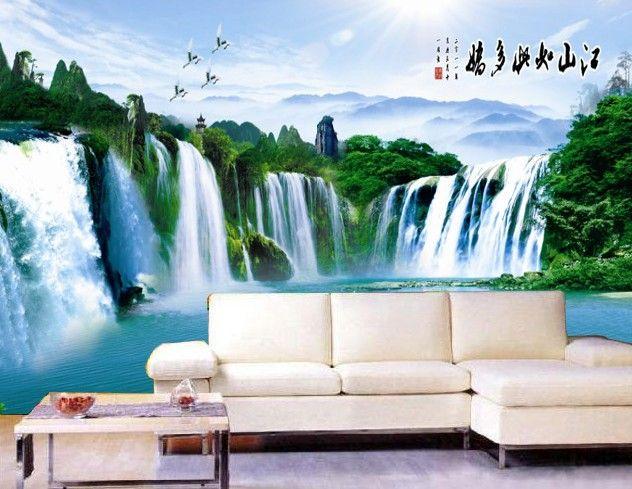 无缝山水风景沙发背景|电视背景时尚壁画