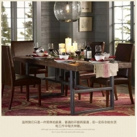 美式鐵藝復古家用桌子方形實木餐廳家具創意時尚長方形咖啡廳餐桌