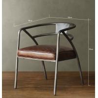 美式酒店客厅户外休闲皮垫椅子创意时尚靠背家用餐厅铁艺餐椅组合