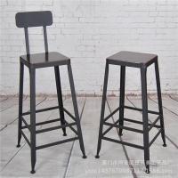 美式复古实木吧台椅 靠背高脚椅星巴克高吧凳前台椅子