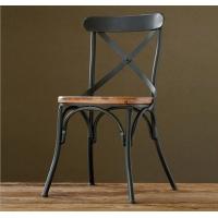 美式乡村工铁艺实木餐椅 创意咖啡厅酒吧椅子