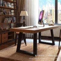 美老湿影院48试铁艺实木电脑桌椅 家用双人书桌写字台办公桌子