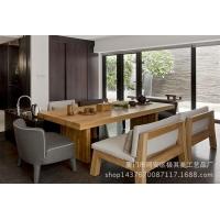 美式乡村实木办公桌椅 书桌纯实木餐桌椅组合