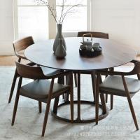 中岛老松木餐桌 北欧实木圆形餐桌
