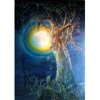 月夜图-沙雕背景|陕西玻璃饰家