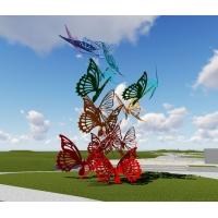 康大雕塑精美的不锈钢蝴蝶彩绘景观雕塑
